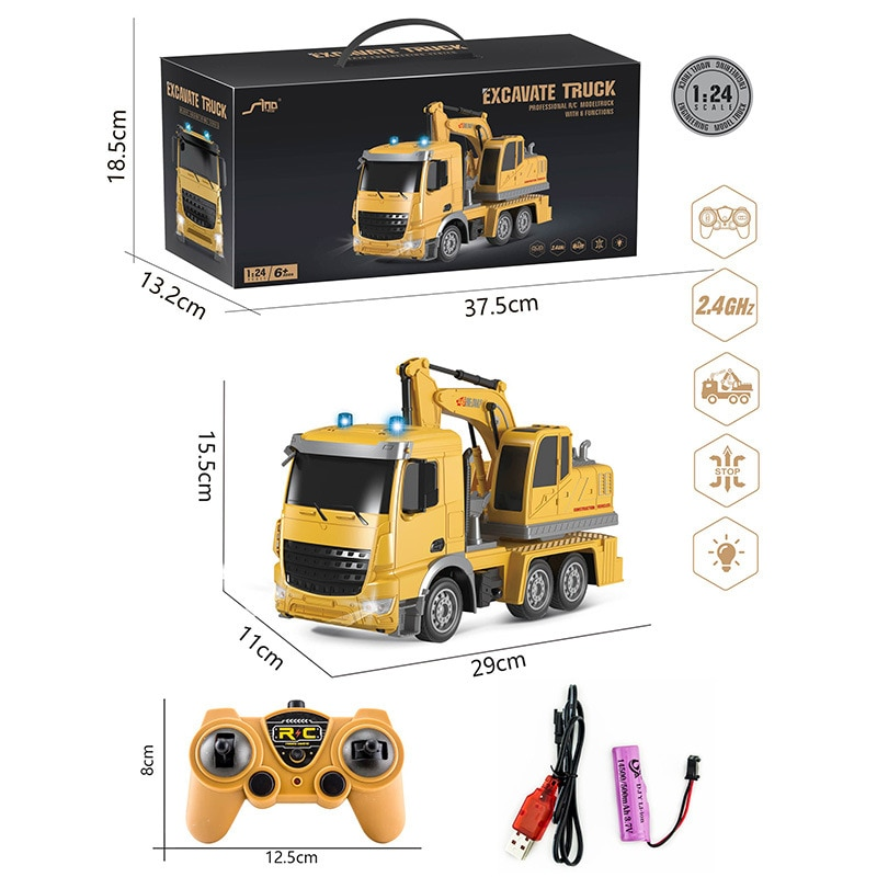 1/24 RC Truck Model Car 2.4G 6CH Radio Controlled excavator caterpillar Remote Control Construction Tractor dumper toys for boy enlarge