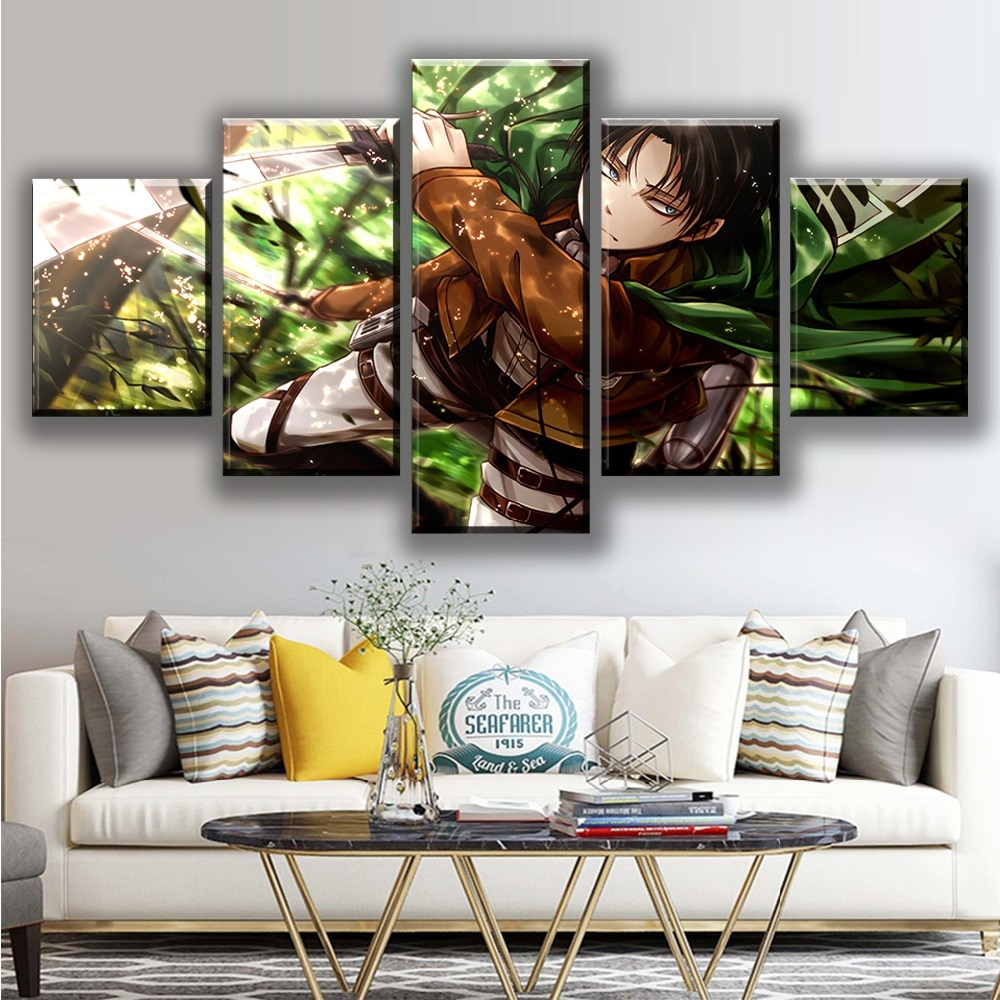 Decoración del hogar lienzo 5 piezas pintura ataque en Titan Anime cuadros pared arte impresiones Modular marco moderno póster para niño habitación