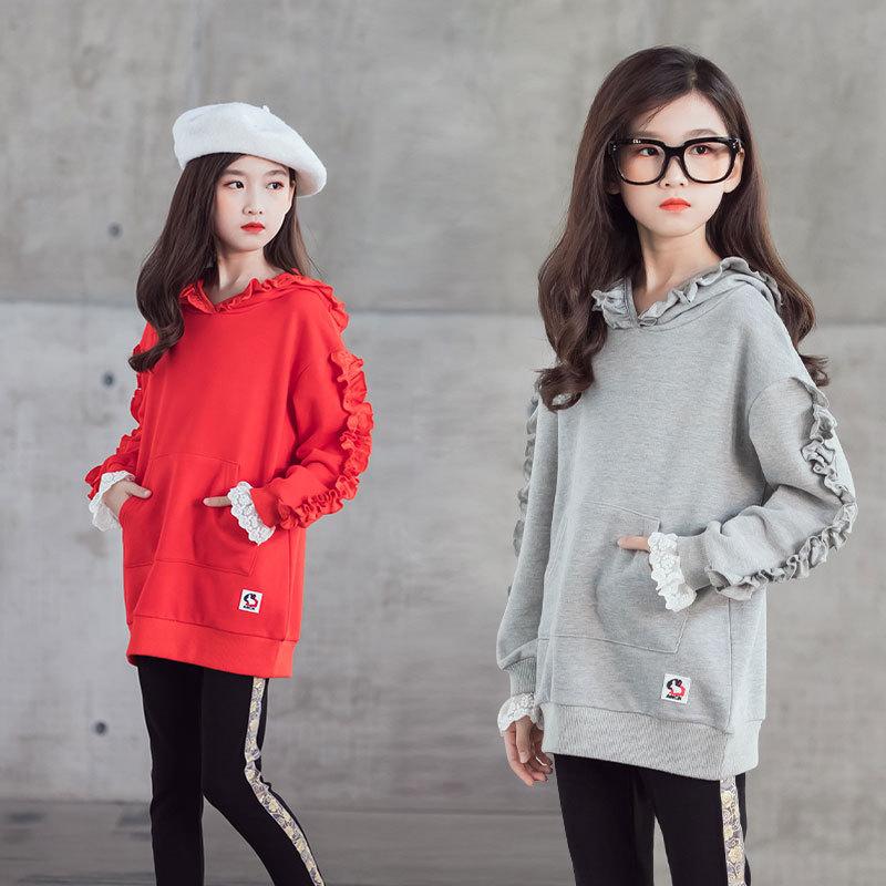 Costume de fille automne 2020 nouveau Style zhong da tong style coréen Style occidental à capuche enfants couleur unie pantalon graisse