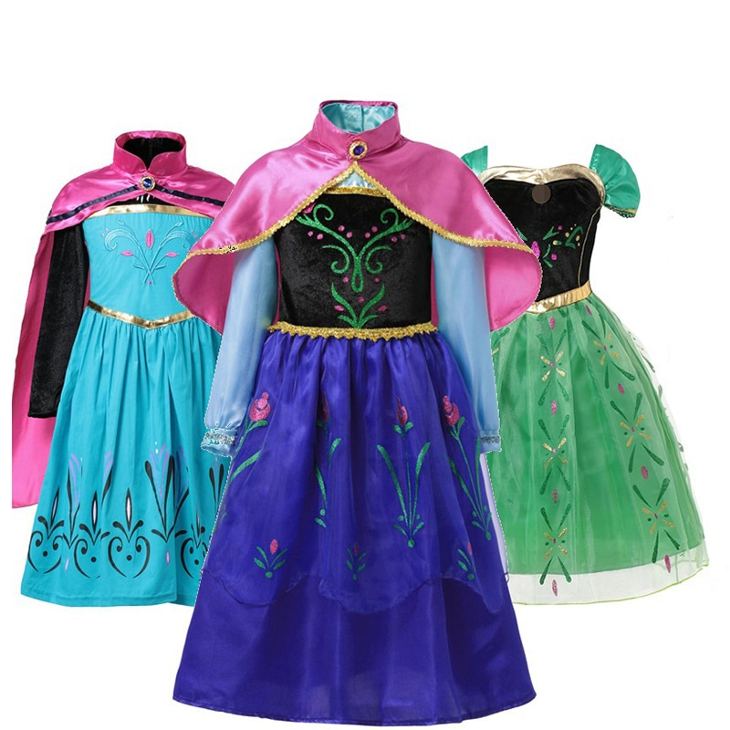 Disney Girls Princess Dress Children Anna Costume for Carnival Kids Snow Queen Frozen Holiday Birthday Party Dress Girl Clothes