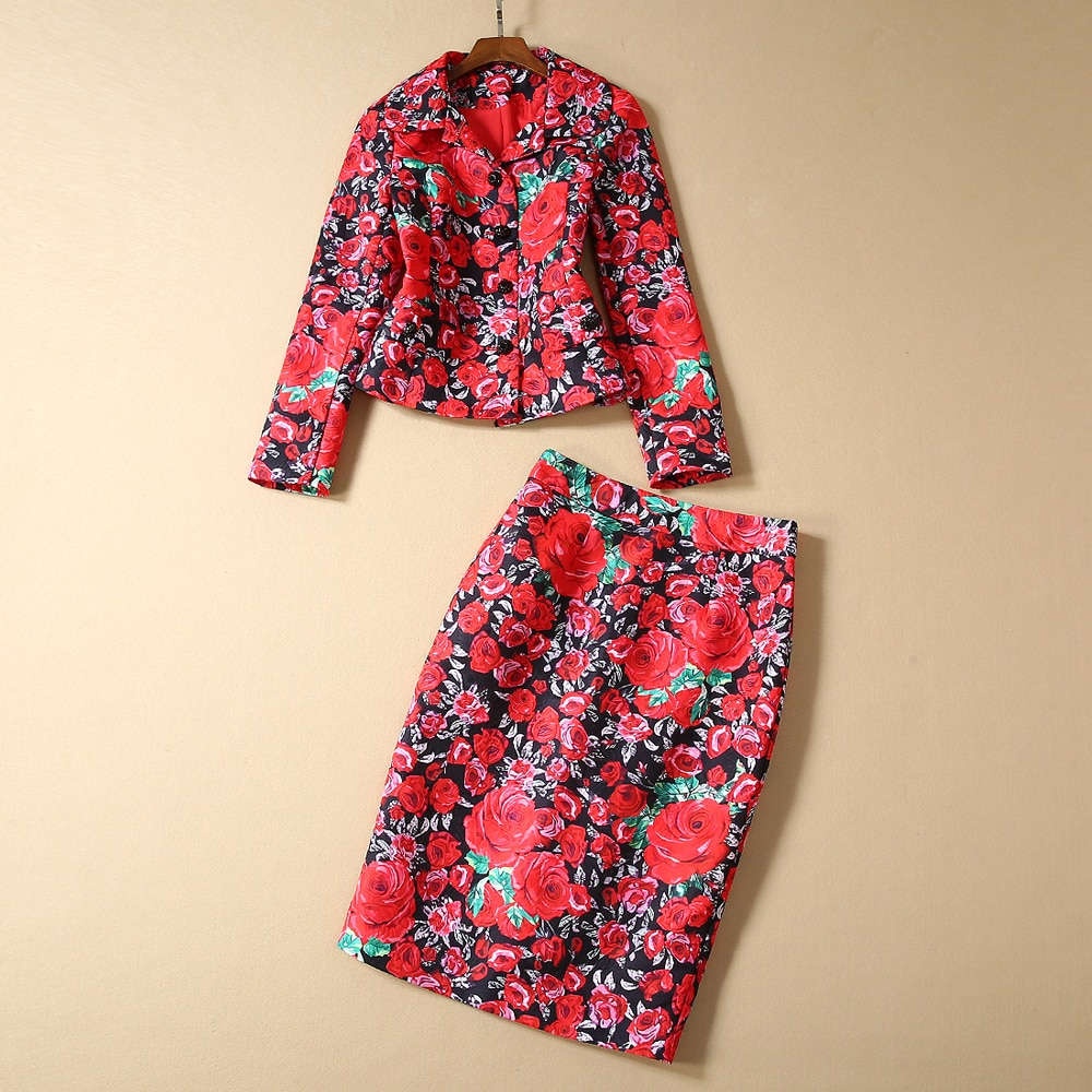 Red RoosaRosee Designer Autumn Winter Women 2 Piece Set Flower Print Diamond Button Long Sleeve Jacket Coat + Skirt Suit Twinset