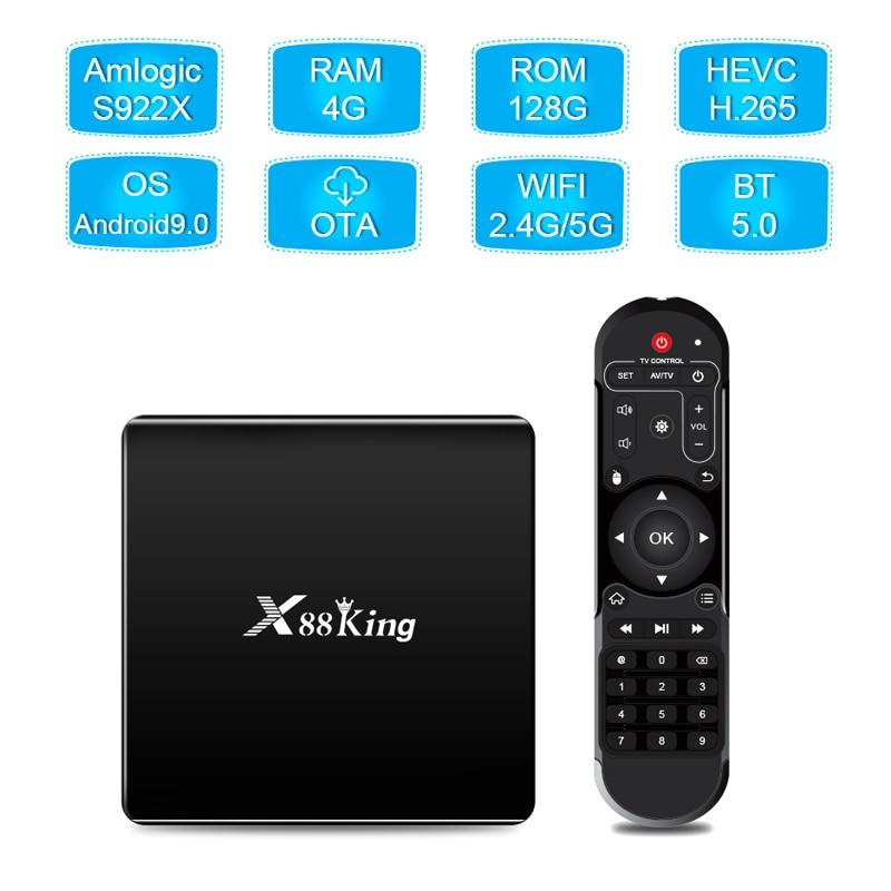 4GB DDR4 128GB TV caja Amlogic S922X Hexa Core Android 9,0 de banda Dual Wifi Bluetooth Smart Android9.0 Media Player TV Box X88 rey