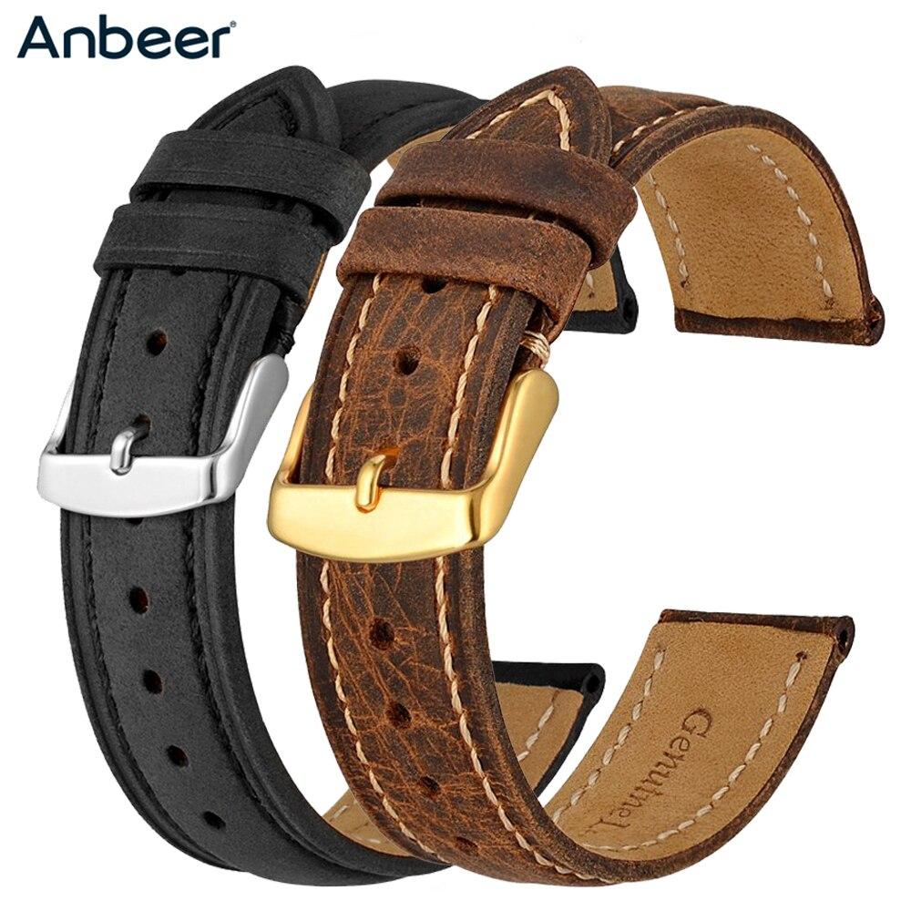 Anbeer-Correa de reloj de cuero genuino para hombre y mujer, correa de...
