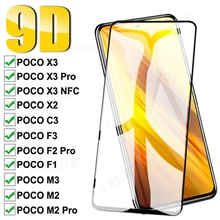 9D Full Protective Glass For Xiaomi POCO X3 NFC M3 C3 X2 M2 F2 Pro Tempered Screen Protector On Poco