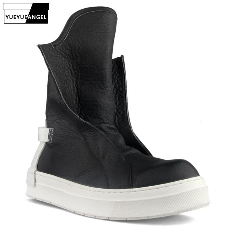 الرجال عالية الجودة حذاء كاجوال مصمم الانزلاق على جلد طبيعي منصة أحذية الشتاء الأسود أحذية رياضية شخصية أحذية الأمان الطويلة