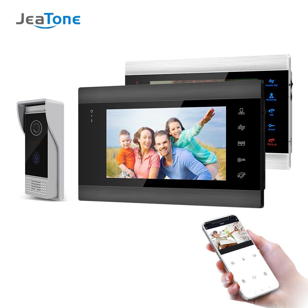 Jeatone 7 بوصة لاسلكية Wifi الذكية IP الفيديو باب الهاتف نظام الاتصال الداخلي مع 2 للرؤية الليلية مراقبة + 1 المعطف الجرس كاميرا