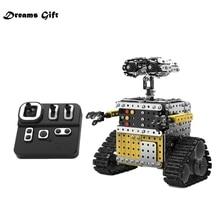 Fernbedienung Blöcke Montage Roboter 2,4G 10CH DIY Stahl Smart Hindernis Vermeidung Walking RC Roboter Spielzeug für Kinder Roboter spielzeug