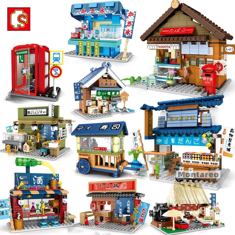 SEMBO City-منزل صغير ياباني للأطفال ، عرض شارع MOC ، بيسترو سوشي ، فواكه ، متجر ، نموذج ، مكعبات بناء ، لعبة للبنات والأولاد ، هدية