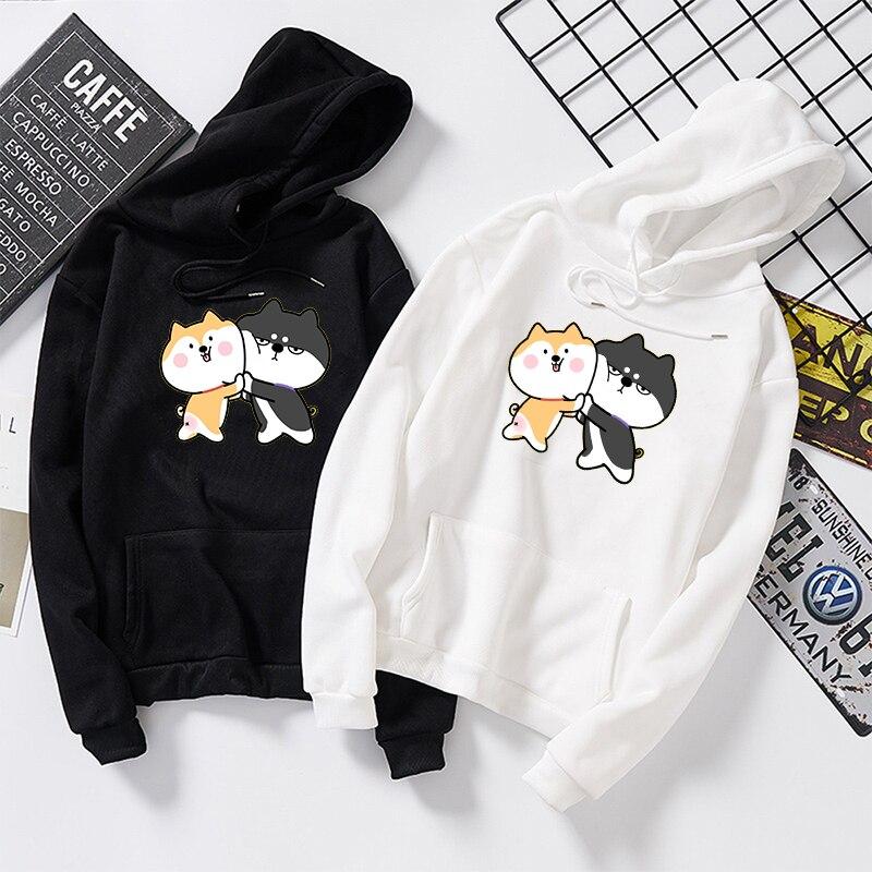 Herbst Winter Frauen Männer Pullover Harajuku Kawaii Shiba Inu Muster Print Sweatshirt Beiläufige Lose Japanischen Streetwear Hoodies Tops