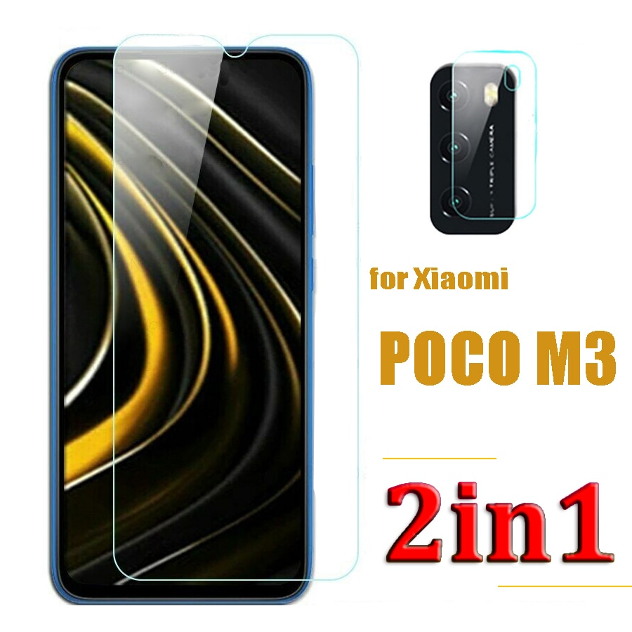 9H закаленное стекло для защиты переднего экрана и объектива камеры стекло для Xiaomi Poco M3 взрывозащищенные противоударные протекторы
