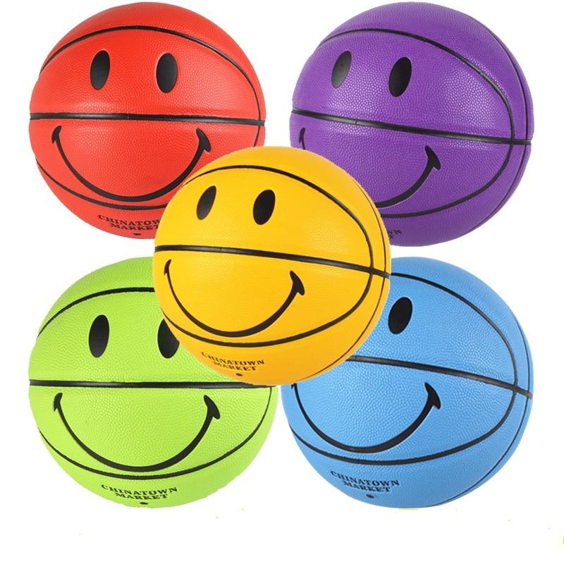 Детский баскетбольный мяч, уличный баскетбольный мяч с улыбающимся лицом, размер 5/7, профессиональный баскетбольный мяч для обучения матча...