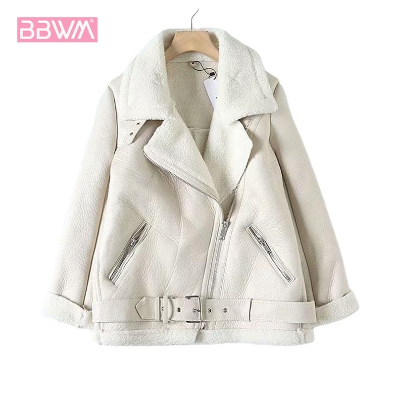 Fur Long Sleeved Loose Belt Warm Women's Jacket Lamb Wool Winter Thickened Locomotive Lapel Female Coat Beige Black Chic PU Tops