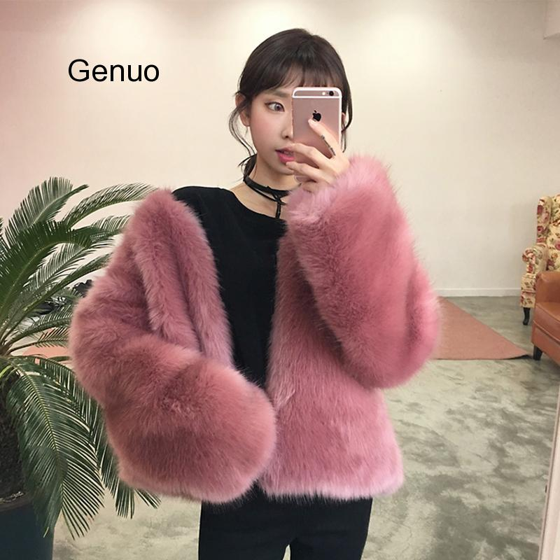 Корейское пальто с искусственным лисьим мехом, осенне-зимнее Новое Женское Модное теплое короткое пальто с искусственным мехом, Свободное ...