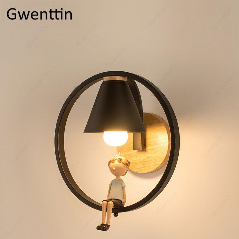 Lámparas de anilla de pared de hierro, decoración de pared nórdica para el hogar, apliques para dormitorio de niños y niñas, accesorios para luz Led para espejo de cama, Luminarias industriales para Loft