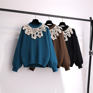 4XL women's fat sister autumn / winter 2020 sweater thickened Knitted Top + Pants Set