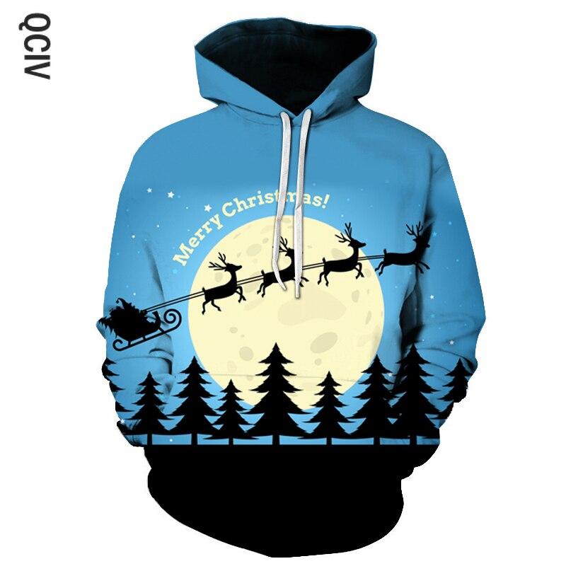 Cute Elk Men 3D Printing Hooded Sweatshirt Men's Christmas Theme Fashion Hoodie Fall Winter Fashion Hooded Pullover