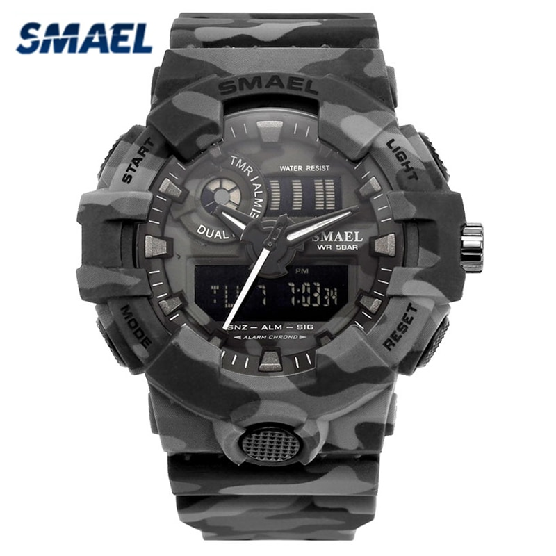 SMAEL Fashon Top Brand Sport Watch New Camouflage Military Watches Army Digital Writwatch Led 50m Waterproof Men's Saat Clock