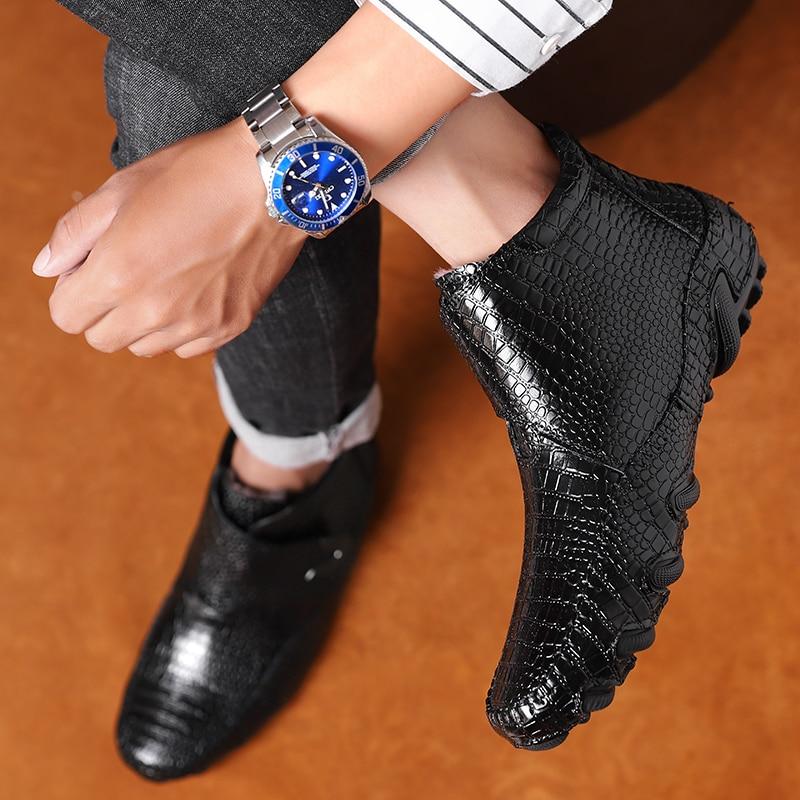 حذاء رجالي من جلد التمساح غير رسمي, حذاء جلدي ، حذاء من الجلد ، الخريف ، الشتاء ، حذاء قطني ، مقاسات كبيرة 47