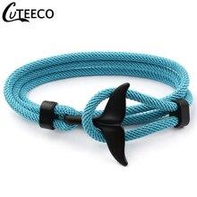 CUTEECO queue de baleine ancre Bracelets hommes et femmes charme nautique survie corde chaîne Bracelet mâle enveloppement métal crochets cadeau de mode