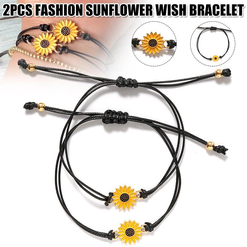 2pcs Fashion Sunflower Wish Bracelet Adjustable Braided Bracelet Summer Alloy KSI999