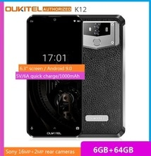"""OUKITEL 10000mAh 5 V/6A Carica Rapida Smartphone K12 6.3 """"FHD + Grande Schermo Waterdrop Android 9.0 octa Core Del Telefono Mobile 6GB 64GB"""