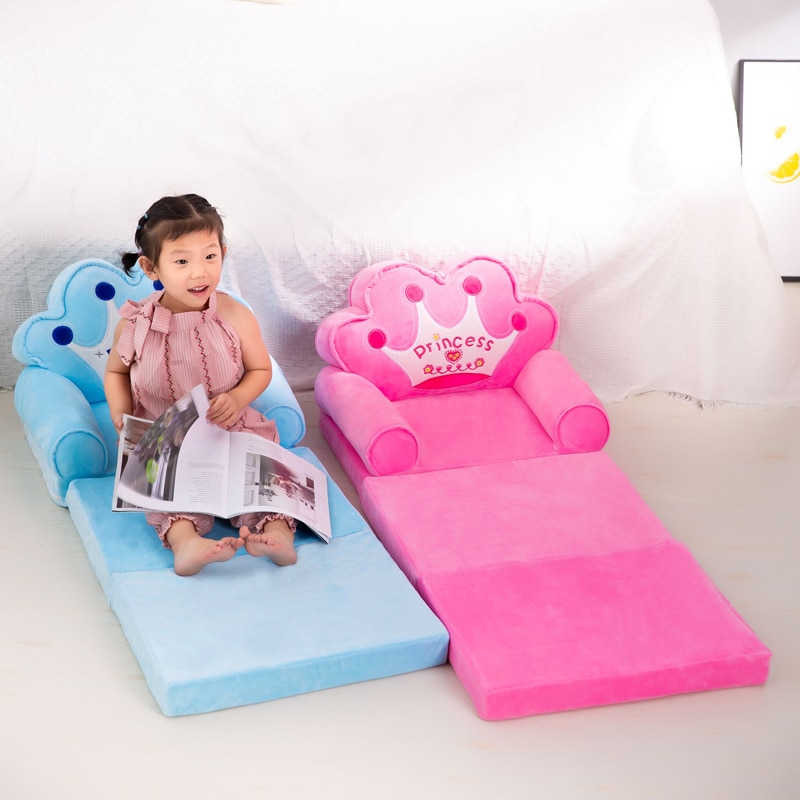3 layers  Only Cover NO Filling Baby Kids Sofa Fashion Cartoon Crown Seat Child Chair Toddler Children Cover for Sofa Folding