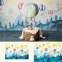 Gorący balon dmuchany-noworodka fotografia portretowa tło w górę iw dół akwarela tło maluch dzieci Photo Studio tło