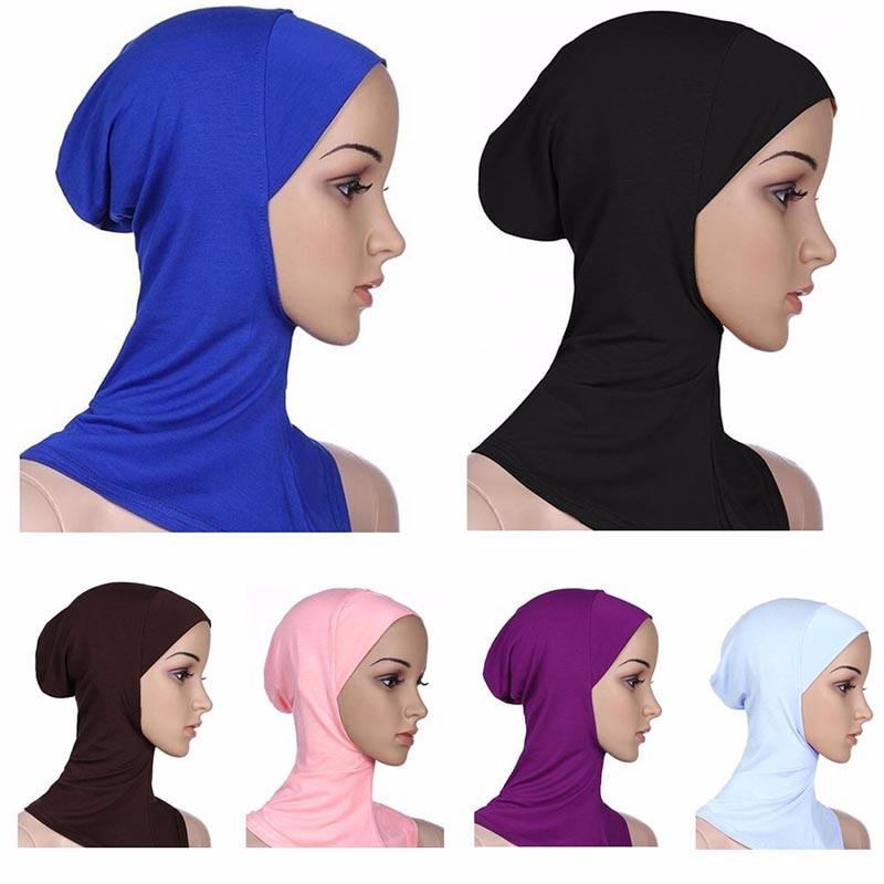Capa de turbante de estiramento muçulmano capa completa hijab interno caps islâmico underscarf bonnet modal sólido sob cachecol tampões turbante mujer