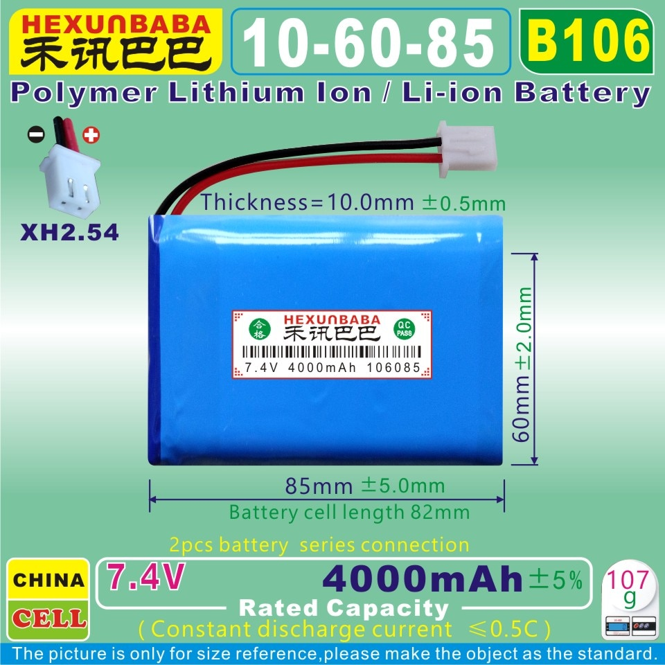 [B106] 7.4 v 4000 mah [106085] bateria de polímero li-ion para satlink localizador de satélite medidor ws6902 ws6912 ws6909 ws6918 ws6922