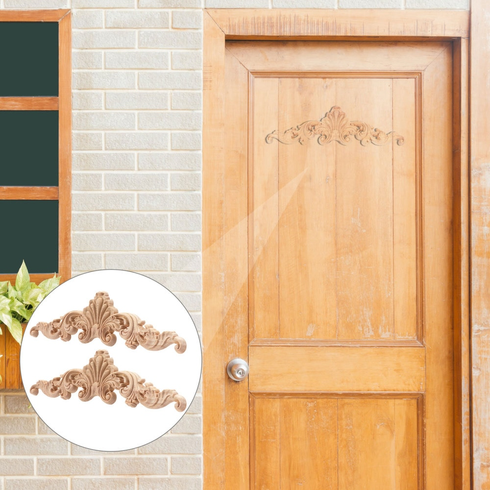 6pcs Wood Carved Corner Onlay Door Cabinet Bed Decoration Applique