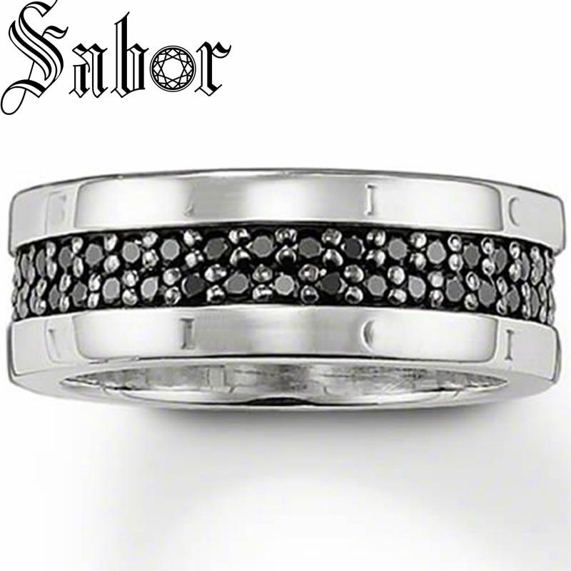 Anel de banda preto cz prata cor anel presente para mulher e homem, feminino vintage 2020 jóias artesanais thomas