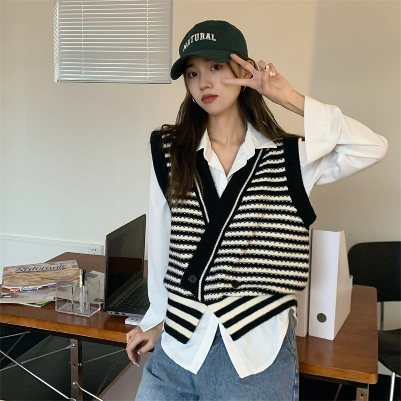 Sweater Vest Women Contrast Striped Knitted Vest Women's Spring and Autumn 2021 New Korean Loose Ves