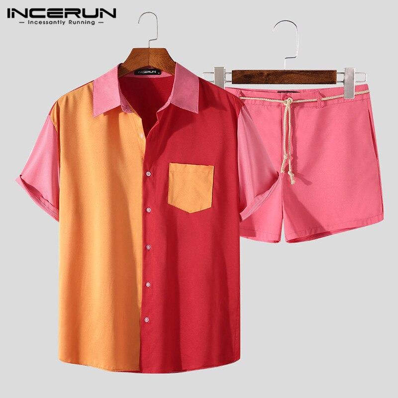 Mann Hawaiian Strand Lose Anzüge INCERUN Männer Patchwork Kurzarm Sets Sommer Bunte Taste Shirts Spitze Up Shorts 2 Stück 3XL