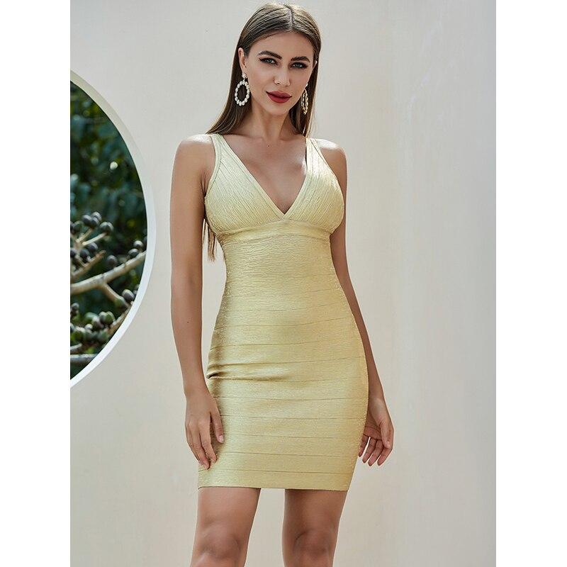 2020 Babatique mujeres Sexy cuello pico oro Mini Bodycon vendaje vestido verano Chic Night Club noche Celebrity vestido de fiesta Vestidos