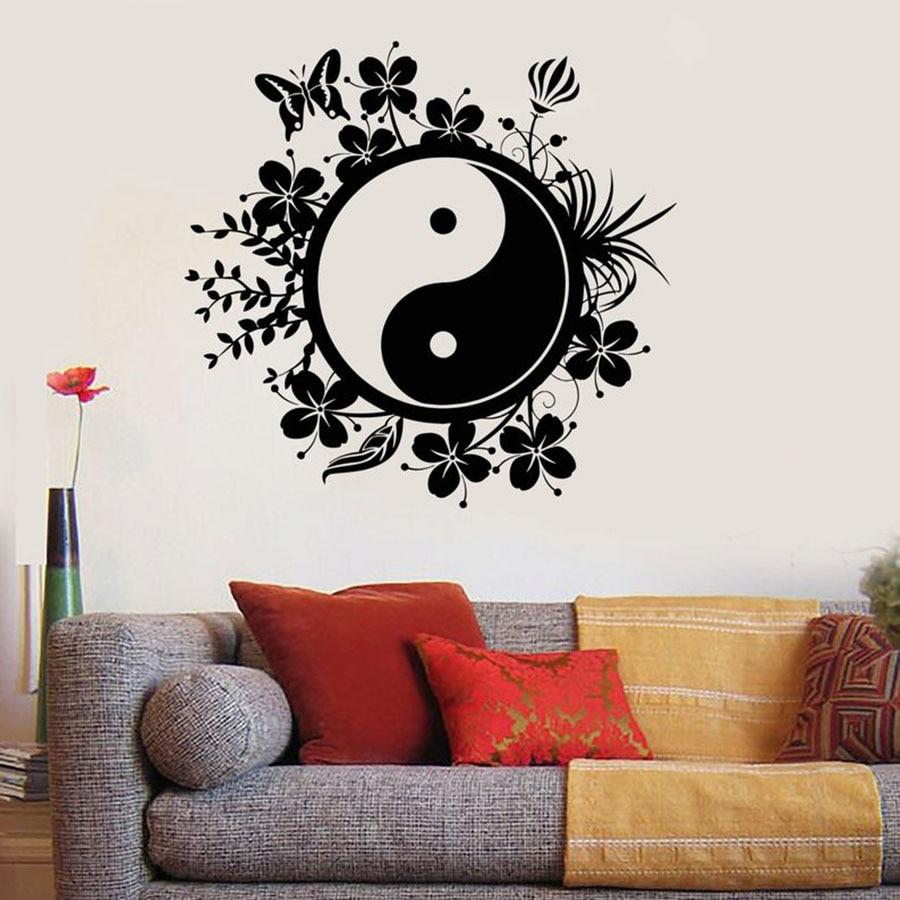 Наклейка на стену «Инь Янь», украшение для йоги, Будды, спальни, йоги, студии, спортзала, дома, виниловая настенная наклейка, S799|Наклейки на стену| | АлиЭкспресс