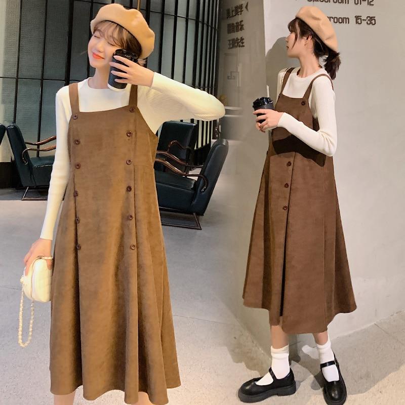 3310 #2 pçs/set outono inverno vestido de tanque para grávidas + camisas de malha de fundo ternos roupas elegantes para grávidas gravidez