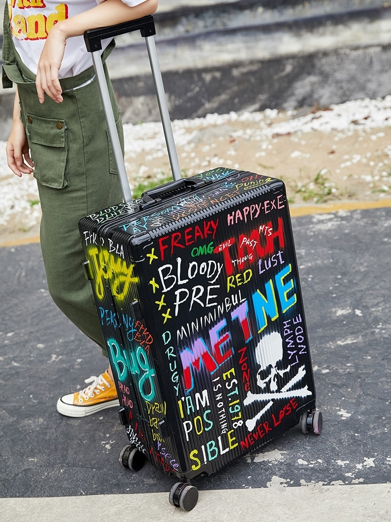 Trunk Doodle Travel Luggage Aluminum Frame Universal Wheel 24 Inch Password Pull Rod  Maleta Koffer  Unisex Student