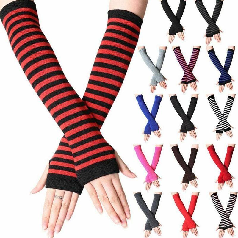 Uni Long Fingerless Gloves Gloves Arm Cover Striped Cotton Wrist Sleeves Arm Warmer Sleeve Knitted Gloves Womens Fingerless