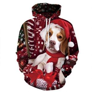 Unisex Christmas Dogs 3D Digital Print Loose Hooded Sweater Pullover Women Men Xmas New Year Baseball Sweatshirt Hoodie