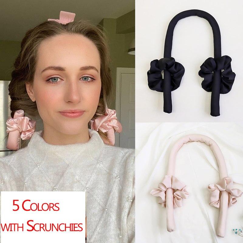 Lystrfac Slik атласный бигуди для волос без тепла, повязка на голову для женщин, лента для завивки волос, резинки для девочек, головные уборы, аксессуары для волос        АлиЭкспресс
