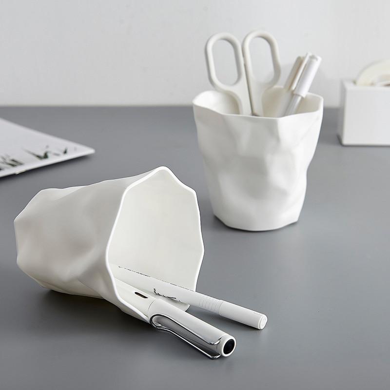 Estudiante Oficina papelería escritorio Mini bote de basura lapicero plegable forma Irregular artículos diversos maquillaje cepillo papelería almacenamiento
