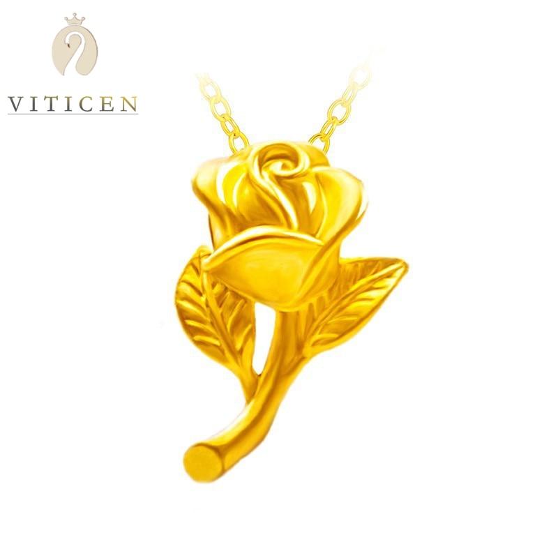 بيجو فام 999 وردة ذهبية نقية زهرة قلادة 24k الذهب الخالص الرقبة المعلقات للنساء موضة هدية للمرأة 18K عقد ذهب