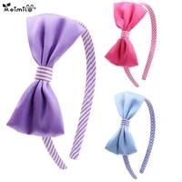 meimile hair bands for baby girls striped hair ribbon bow tie fashion cute headband princess purple pink blue