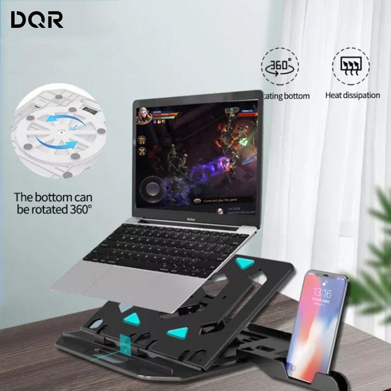 حامل كمبيوتر محمول قابل للطي ، قاعدة قابلة للتعديل مع مروحة تبريد وتبديد الحرارة لجهاز Macbook Pro مقاس 11 - 17 بوصة