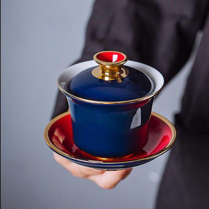 النمط الصيني الشاي السلطانية الرسم الذهب السيراميك Sancai Gaiwan رسمت باليد الياقوت الصقيل غطاء وعاء ماكينة إعداد الشاي