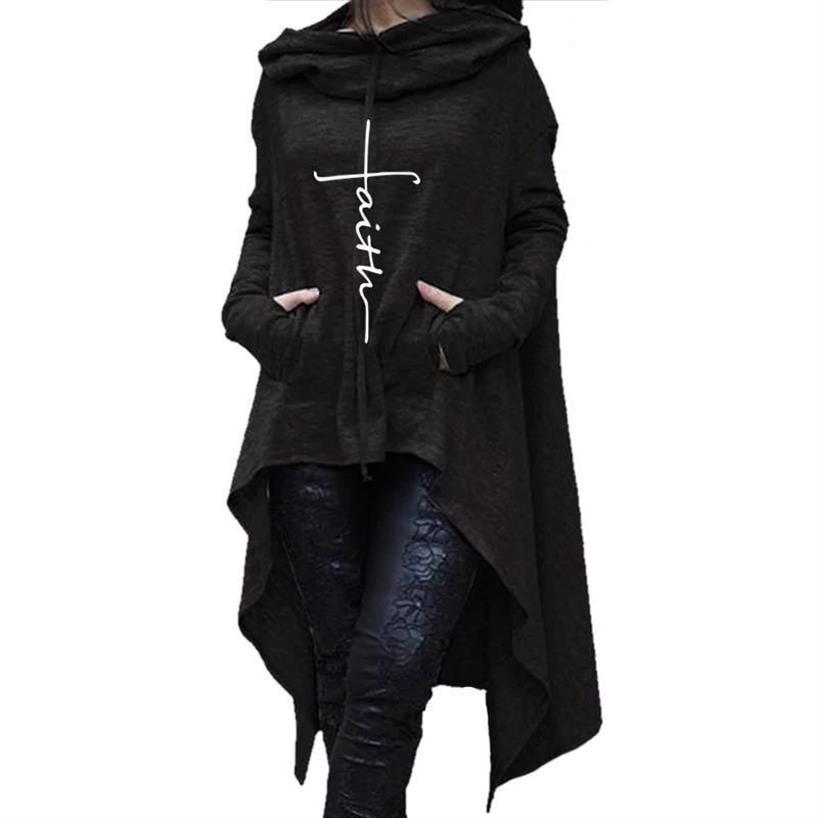 С надписью «Faith» печати кофты с неровными краями пуловеры с подолом Молодежные для женщин; Большие размеры Повседневная Kawaii Ретро Толстовка...