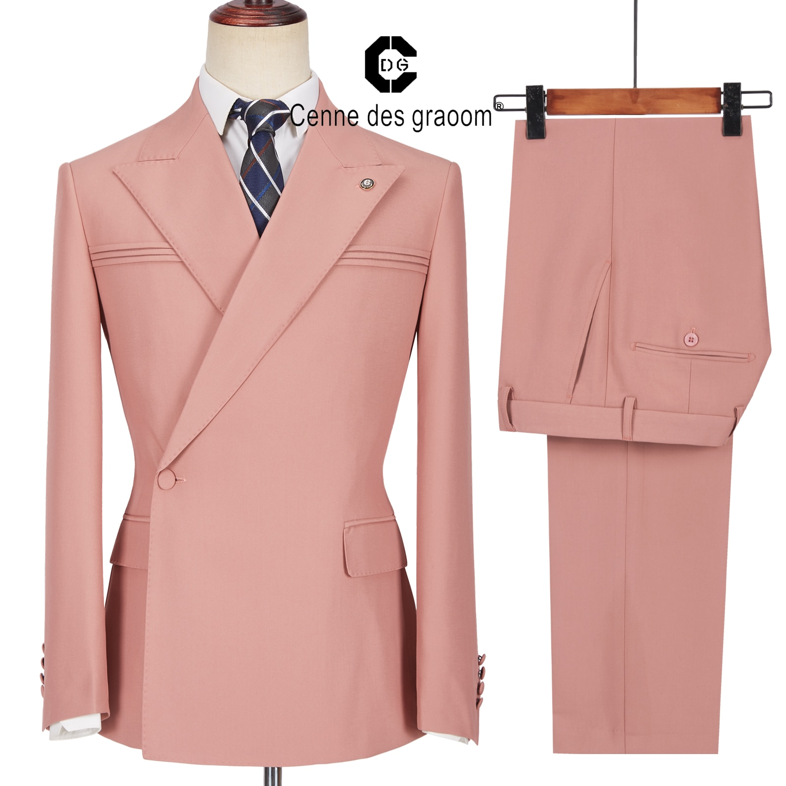 بدلة رجالية من Cenne Des grooom بزر واحد وردية صدر مزدوجة سترة مصممة حسب الطلب سروال عمل كاجوال لحفلات المغني والعريس