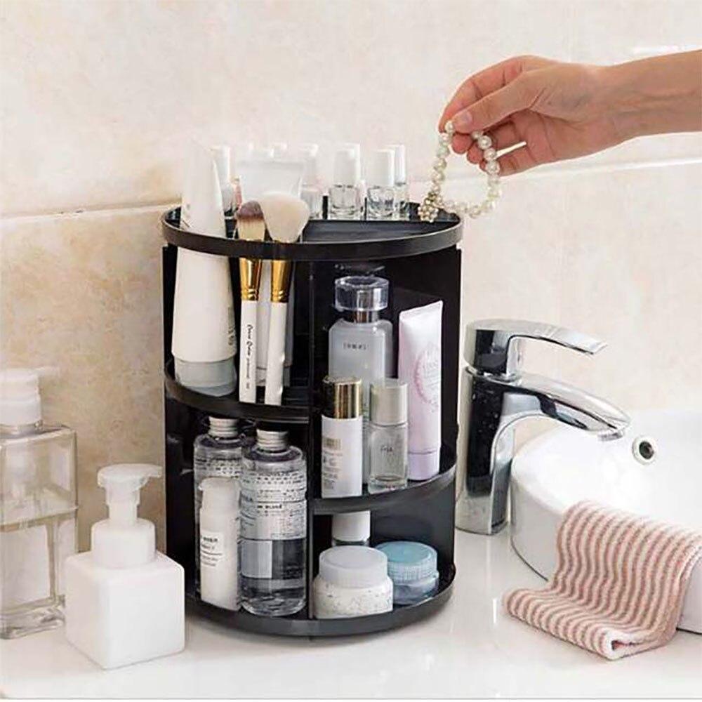 Maquillaje organizador de almacenamiento de cajón de plástico cosmética nueva moda 360 grado Cepillo giratorio de estantería de joyería de belleza