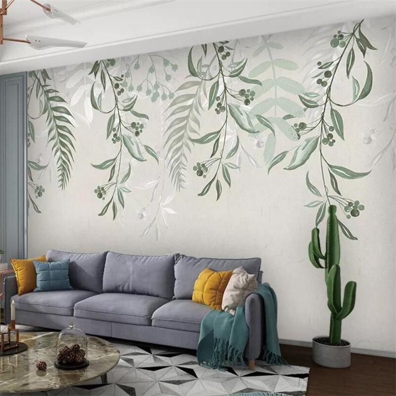 Papel tapiz personalizado 3d, mural de pared americano, nórdico europeo, pequeña planta...