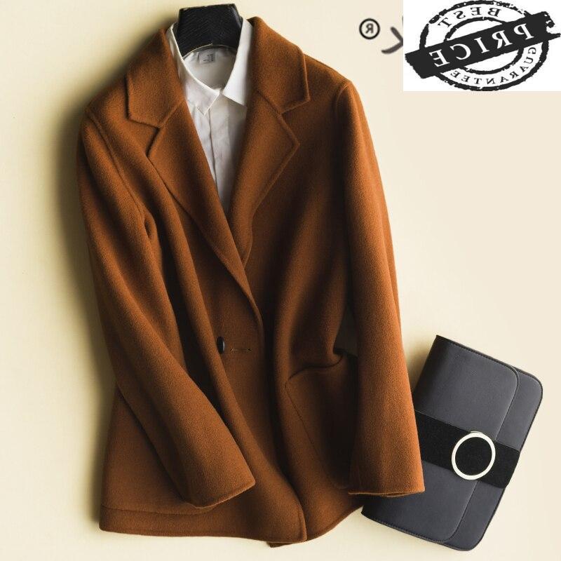 Abrigo de lana de 100% coreano para mujer, chaqueta de Cachemira de...